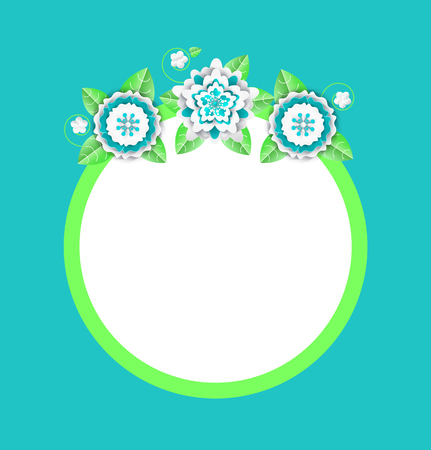 Vector web banner with papercut blooming flowers, round frame with spare place. Floral decoration on circled border in white, green and blue colors