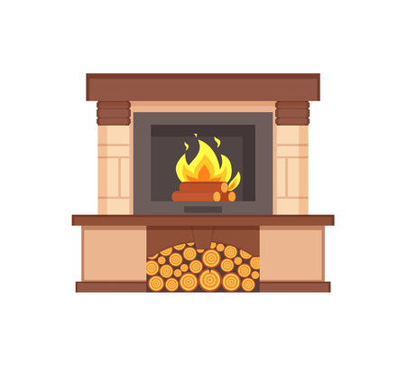 Fireplace with burning logs wooden fuel inside isolated icon vector. Container with wood branches of tree, contemporary interior furniture classic type