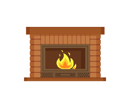 Fireplace with metal frame, construction made of brick vector. Flames and burning logs wood material in fire, heating decoration of home interior