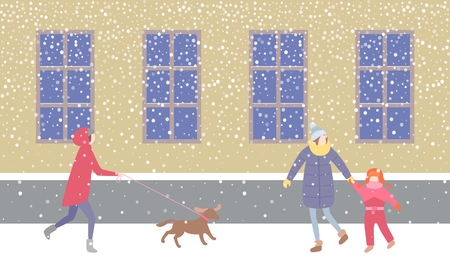 Lady walking dog on leash strolling along street vector. Mother holding child on hand, wearing warm jacket and knitted scarf. Blizzard snowflakes falling Illustration