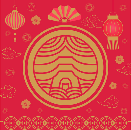 Chinese New Year Holiday celebration asia vector. Flower floral elements, decoration hand fan and lanterns made of paper, flora and origami design