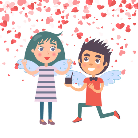 Valentine day, man kneels down with proposal marriage to woman with wings. Postcard decorated by red hearts, angels meeting, couple romantic day vector