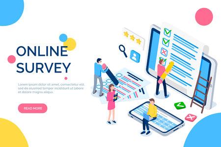 Online-Umfrageleute mit Bildschirmen und Laptops Vektor. Bewertungsanträge für Männer und Frauen, Ankreuzungen und Kreuze. Laptops und Textbeispielzelle Vektorgrafik