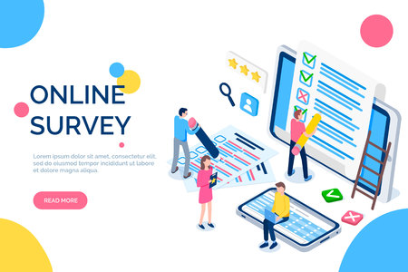 Online survey people with screens and laptops vector. Male and female rating applications, ticking marks and crosses. Laptops and text sample cell