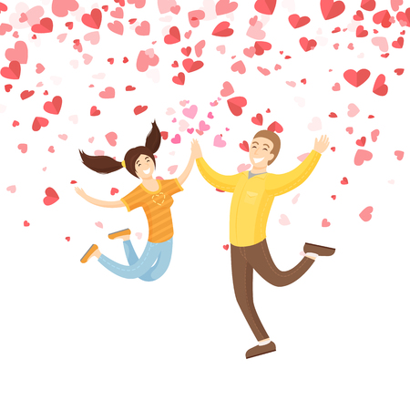 Jumping smiling girl with boy vector. Springing people with good mood giving five each other. Holiday card decorated by red hearts, Valentine postcard Illustration
