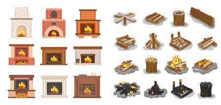Fireplace isolated icons set logs wooden material vector. Furniture home decoration, stone and brick, ornaments and fire inside, burning wood beams