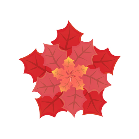 Leaves of different sizes and shades in flat style isolated on white. Illustration of red beautifully folded sheets vector, decoration for holiday Ilustração