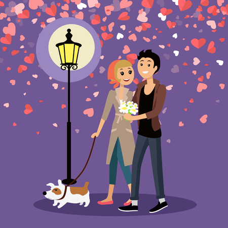 Embracing couple walking outdoor with dog near glowing lantern. Man giving bouquet of daisies to woman. Valentines card decorated by red hearts vector