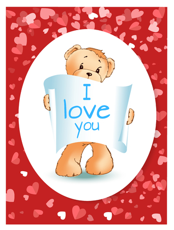 Teddy bear with paper of recognition in white oval. Valentine confession I love you, romantic postcard on red hearts. Toy animal with text vector