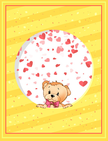Teddy bear with bow peeking out from round decorated by hearts frame. Valentine postcard, plush toy with pink bow cartoon character vector greeting card Ilustração