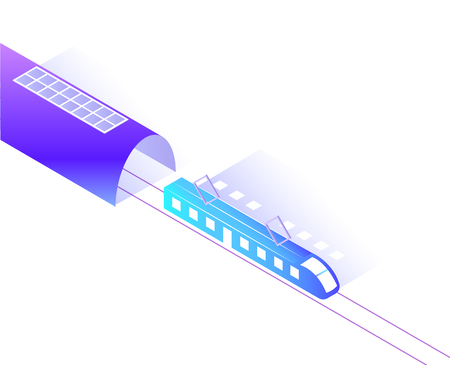 Train station, transport riding from tunnel isolated icon vector. Transportation isometric 3d, modern city connection, railway public vehicle for commuting