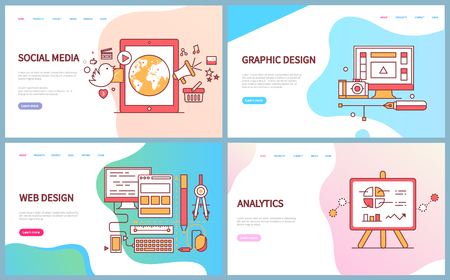 Graphic and web design, analytics and social media vector. Computer screen with tools, monitor with supplies for optimisation of website data on charts