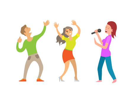 Partying people having fun lady with microphone vector. Couple dancing, woman singing and entertaining guests, show clubbing male and female clubbers Illustration