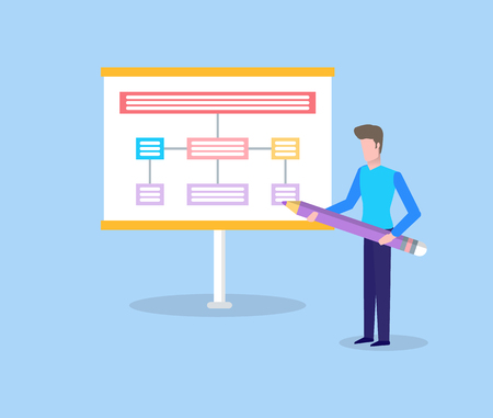 Man holding big pencil and showing scheme on presentation, standing man near spreadsheet. Colorful panel construction, billboard with shadow in flat vector