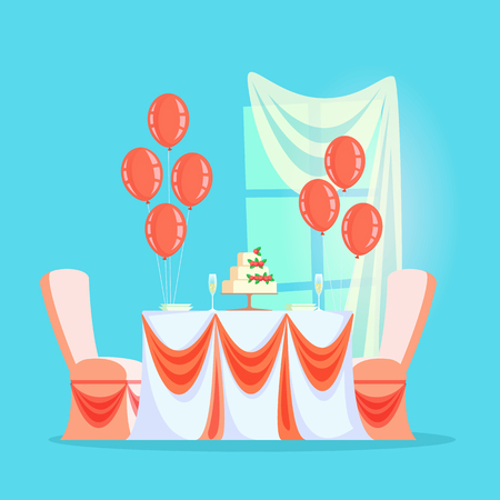 Wedding or banquet table with cream cake and champagne vector. Balloons and festive tablecloth, plates and glassware, window with curtain, furniture