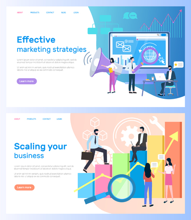 Effective marketing strategies, scaling business vector. Computer monitor and loudspeaker, statistical graphic and entrepreneurs, research and development  イラスト・ベクター素材