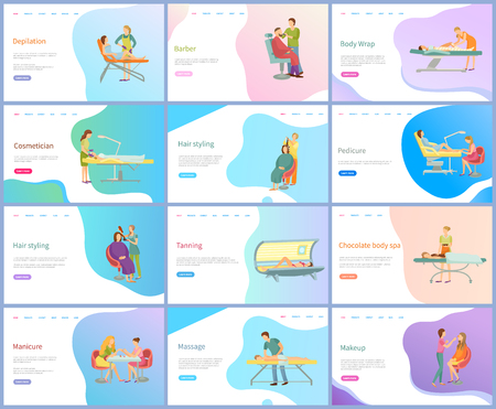 Beauty and skincare procedures vector. Depilation and barber, body wrap, cosmetician, hair styling and pedicure, tanning and chocolate spa treatment