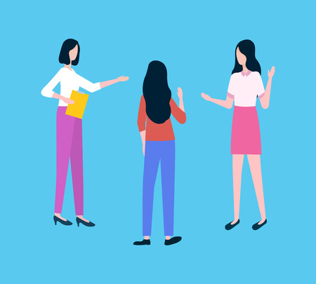 Businesswomen at meeting discuss business plan vector. Women or female entrepreneurs talk in circle, office workers and boss with notepad, teamwork Illusztráció