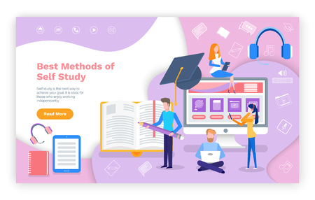 Best methods of self study online education web page vector. Student typing home assignment, laptop with screen of home tasks, smartphone earphones