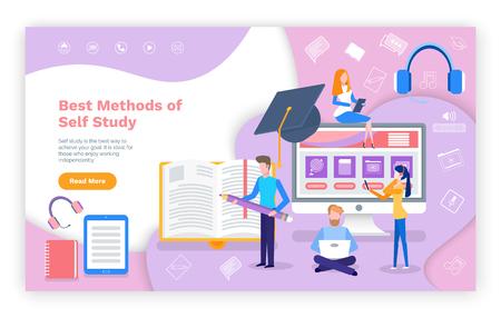 Meilleures méthodes d'auto-apprentissage du vecteur de page Web d'éducation en ligne. Étudiant tapant un devoir à domicile, ordinateur portable avec écran de tâches à domicile, écouteurs de smartphone