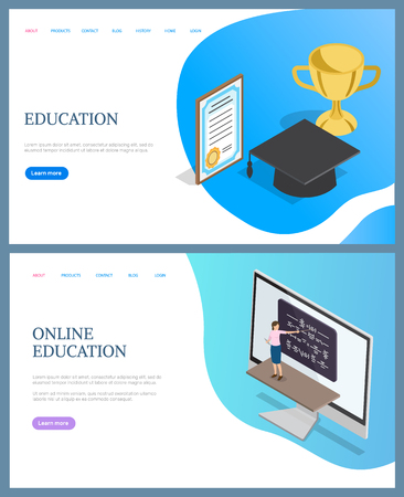 Online education training, teacher with pointer explaining formulas on board. 3D rewards of graduating diploma, golden cup, academic hat, e-learning vector Imagens - 116764552