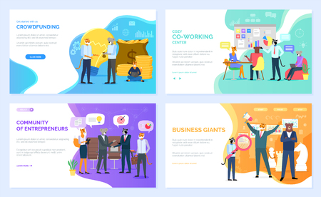 Animal business team. Crowdfunding and co-working, community of entrepreneurs and business giants vector. Wild animals in office suits, money and statistical data, teamwork