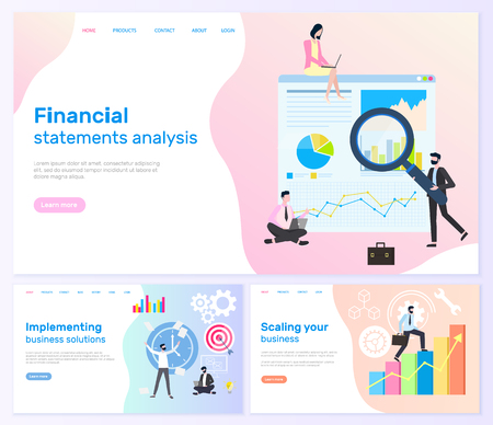 Scaling business and financial statistics websites set vector. Workers holding magnifying glass researching charts, infographics and schemes worldwide