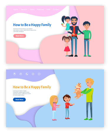 How to be happy family father with kids website vector. Daddy with children, boy and girl child, relatives together. Male holding puppy furry pet Illustration