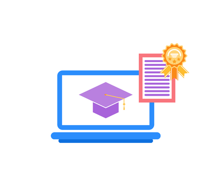 Laptop with icon of academic cap. Golden reward with diploma. Medal prize and education icon isolated on white. Flat graduation achievements vector