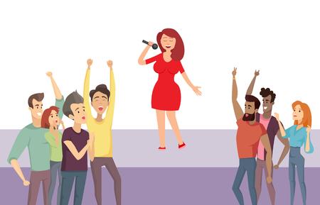 Sängerin, die auf der Bühne steht und Lieder singt Vektor, Darsteller mit Menge. Leute, die die Dame im roten Kleid bewundern, Star, der für das Publikum von Zuhörern auftritt