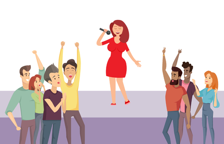 Woman singer standing on stage singing songs vector, performer with crowd. People admiring lady in red dress, star performing for audience of listeners