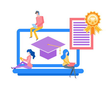 Online education obtaining knowledge in distance vector. Graduation hat on screen of laptop, certificate with seal award. Man and woman using gadgets