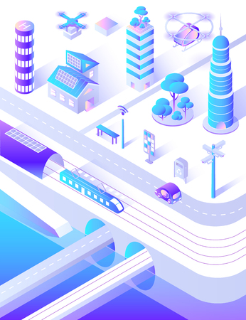 Smart city infrastructure transport and streets vector. Modern innovative cars and buses, train and skyscrapers with high top, benches and lanterns Illustration