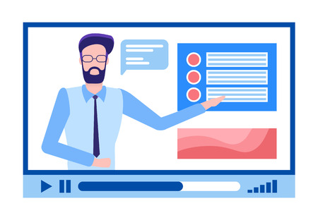 Online courses male in glasses with beard explaining material vector. Person with explanation of tasks, tutor for students to be educated, distant study 일러스트