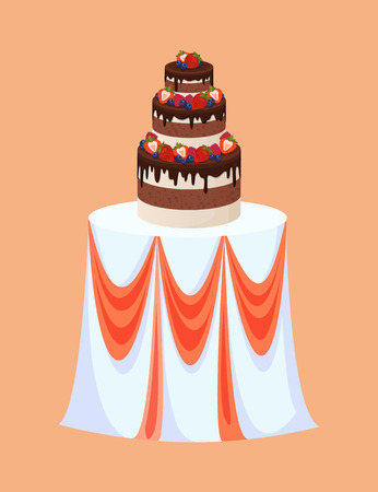 Wedding table with cake made of chocolate and berries vector. Choco topping, raspberries and strawberries with leaves, blueberries sweet dessert for party Иллюстрация