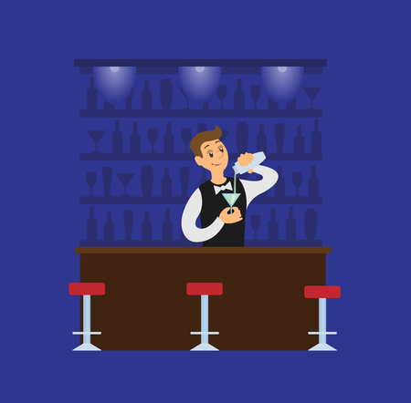Barman making cocktail, pouring drink in glass. Blue restaurant in flat style, bartender in suit mixing beverage. Working waiter in dark pub vector