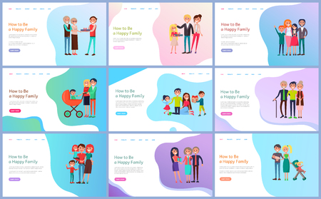 Happy family with baby carriage, children and parents giving present to relatives. Web page decorated by mother and father with daughter and son vector Illusztráció