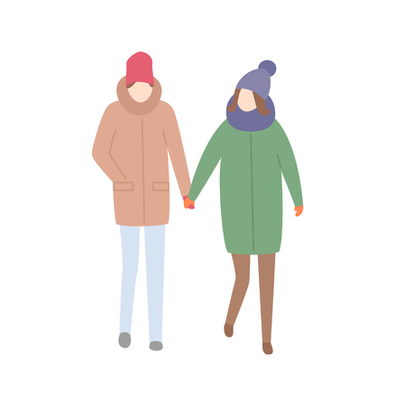 Couple man and woman walking together relaxing people vector. Male and female holding hands, wintertime cold seasonal clothes hats and jackets on pair Illusztráció