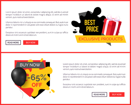 Retail shop promo poster with sale badge emblem, super discounts on popular goods vector landing page template. Advertising with balloon and gift boxes