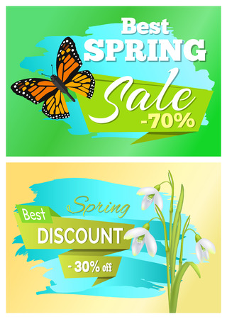 Best spring sale 70 discount promo price 30 off set of stickers with brown butterfly and white snowdrops vector advertisements springtime emblems