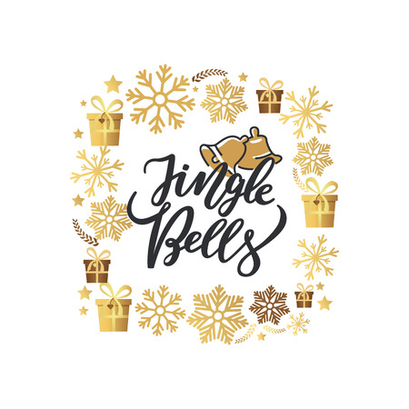 Jingle bells print, lettering text and two holiday campanes vector. Winter greetings on New Year, winter frame of snowflakes, gift boxes stars and leaves Reklamní fotografie - 116457058