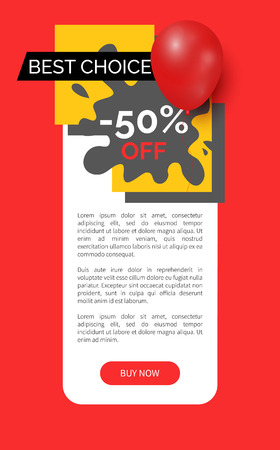 Best choice 50 percent sale on products vector web site template. Blot and ribbons, inflatable balloon, clearance and promotion, proposition offer Illustration
