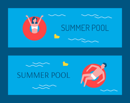 Summer pool people floating in lifebuoy lifeline posters with text set. Man and woman in red saving rings, vacation in summer, female and male vector Illustration
