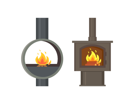 Fireplace old style stoves with burning logs set vector. Rounded metallic construction with fire, pipe ventilation. Home interior vintage furniture