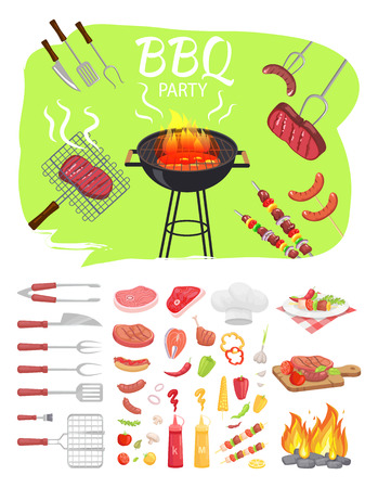 BBQ party poster barbeque. Grilling meat, skewers brochettes and roasted sausages on fork. Flatware with vegetables sauce and served meals vector Archivio Fotografico - 125453518