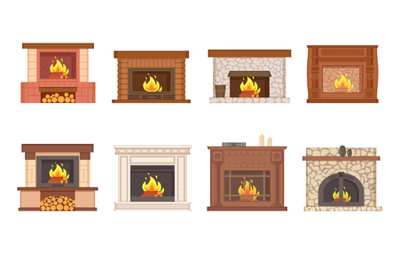 Fireplace home interior burning wood isolated icons set vector. Shelves with vase and decor, furnace made of stone and redbrick, stand and bucket