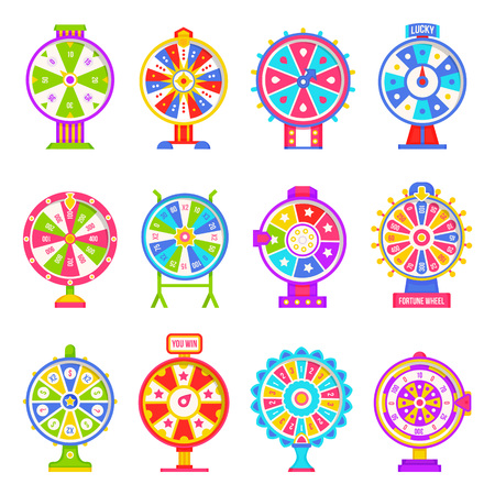 Fortune wheel machines set for gamblers to play gaming isolated icons set vector. Numbers and slots colored in different colors casino and money winning, flat style Ilustração