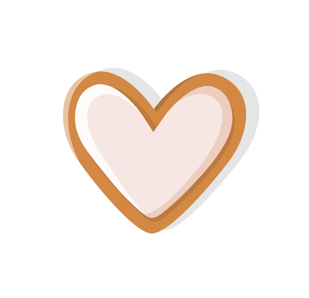 Heart shaped cookie made of gingerbread pastry vector. Isolated icon of ginger biscuit with topping on top, snack baked for Christmas celebration