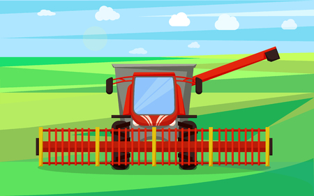 Combine agricultural device vector. Farmland field with crops and sky with clouds.Farming machinery for lands works, soil cultivation farm equipment