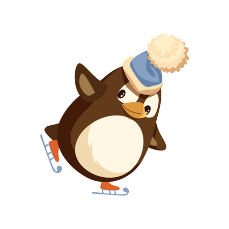 Penguin in Santa hat on skates, winter Christmas activity. Flightless bird skating on ice rink, holiday entertainment. Vector Arctic animal isolated vector Vectores